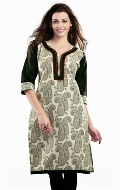 Lovely Off White and Black Color Traditional Kurti