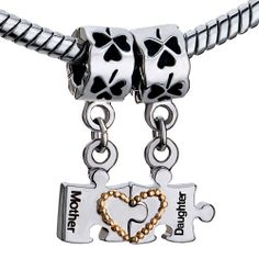 Mother Daughter Charms Heart Love Beads