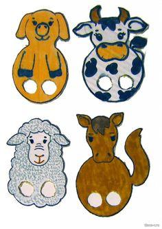Пальчиковые игрушки из картона: корова, свинья, овца илошадь