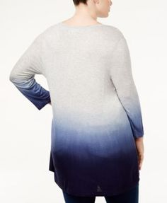 Style & Co Plus Size Ombre Swing Top, Created for Macy's - Gray 2X