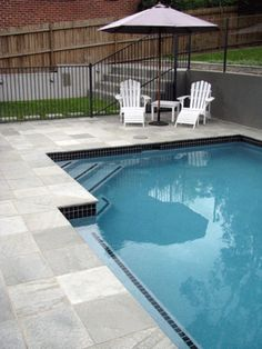 Grey Gum quartzite pavers and coping from Bellstone. Excellent slip resistance, easy to maintain due to high density and resistant to salt attack for salt water pools - a great choice for pool surrounds