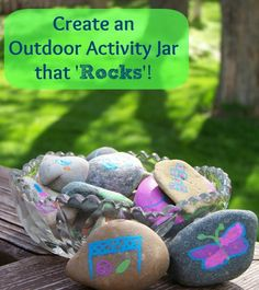 {Want to get the kids outside more often?}  Fun & Easy craft -- Paint rocks with pictures of things to do outside & let them choose what to explore outdoors!
