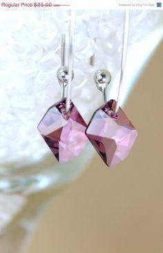 Cyber Monday Black Friday Bridal Earrings Antique Pink Crystal Dangle Earrings Swarovski Elements. $17.50, via Etsy.