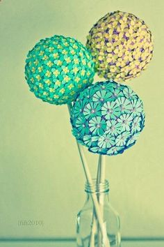 cool crafts from japanese website. You can make them by going to Walmart and buying a styrofoam ball from the craft section. Once you have your ball, pick out confetti shapes that you like. To attach the shapes to the ball, use pins and push the pin through the shape. Definitely gonna try it!