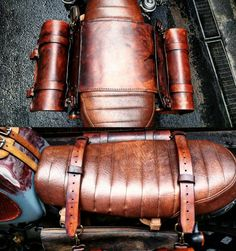 Cafe racer motorcycle saddlebags scrambler custom special. Aged leather/Burl…