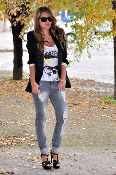 Love the punk graphic tee with blazer look
