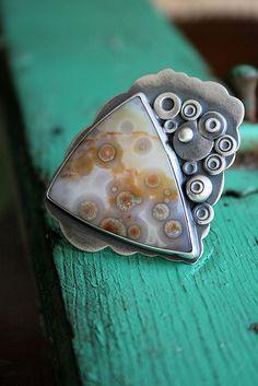 Ocean jasper; I like the circular metal elements reflecting ocean jasper's orbicular nature.