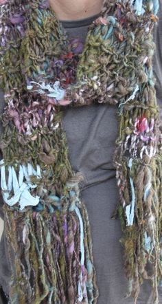 SOLD Hand Knit Scarf in Multi Color Handspun  Bulky Wool by bpenatzer, $81.00