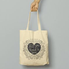 Tout ce que vous avez besoin est amour Tote Bag, sac Shopper réutilisable, Cabas de coton, Shopping Bag, Eco Tote Bag, sac d