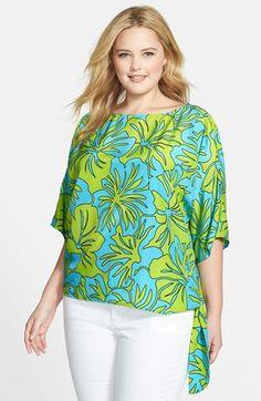 MICHAEL Michael Kors 'Paradise Orchid' Print Side Tie Top (Plus Size)