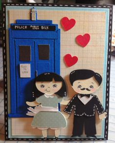 Dr. Who inspired card made with the Silhouette Cameo, Cricut, and Peachy Keen Stamps.