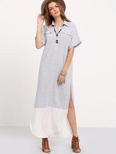 White+Black+V-neck+Striped+Split+Casual+Dress+24.00