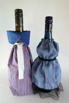 Wine Bottle Cover Decoration Mr & Mrs Couple by RAILOclothing