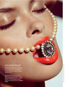 vogue beauty, orange lipstick, clean skin, beauty photographer nyc, vogue russia