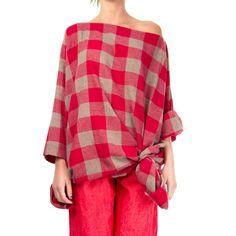 Daniela Gregis, Poppy red and grey check shirt. 100% cashmere.