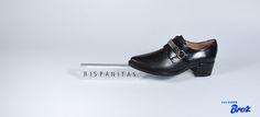 Colección Hispanitas. Zapato de piel con hebilla e tacón baixo - Negro. (muller).