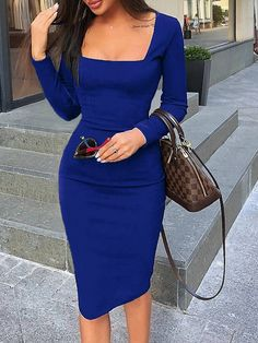 Shop Elegant Dress Women Long Sleeve Bodycon Dress Ladies Autumn Casual Dress Party Dress Xmas Warm Cotton Winter Dress hot at Cute Clothes For Teens. Vestidos Sexy, Elegantes Outfit Frau, Mode Bcbg, Mode Instagram, Look Fashion, Womens Fashion, Latest Fashion, Trending Fashion, Cheap Fashion