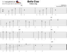 Bella Ciao - easy guitar tablature