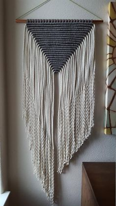 Gray and White Large Modern Macrame Wall Hanging on Copper Pipe // Wall Art (Penelope) – Sarah Anderson – weberei Macrame Wall Hanging Patterns, Large Macrame Wall Hanging, Macrame Patterns, Quilt Patterns, Stitch Patterns, Macrame Design, Macrame Art, Macrame Projects, Macrame Modern