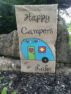 Handmade Burlap personalized Happy Campers flag by SunshineAndSas