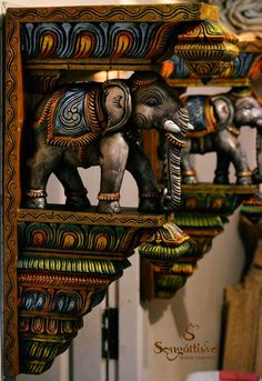 Wooden Elephant Wall Bracket....!!! www.woodencarvings.in Indian Wall Decor, Indian Home Decor, Wooden Brackets, Wall Brackets, Wooden Wall Shelves, Wooden Walls, Casa India, Hindu Statues, Indian Art Gallery