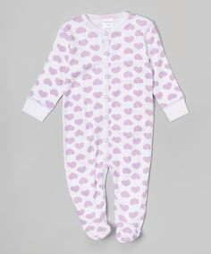 Another great find on #zulily! Lilac Hearts Footie #zulilyfinds