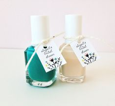 Bridal shower gifts of nail polish with favor tags - Party favor tags on Etsy, $12.00.  Maybe give polish in wedding colors