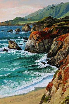 $195 'Coastal Grandeur' by Erin Dertner  ~ 22x15 - Impressionist oil landscape of coastal Northern California - Artist Proof Giclée Reproduction on premium quality paper.