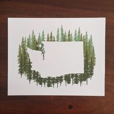 Washington State Print Green Pines by MyWildBlueYonder on Etsy Washington State Tattoos, Washington State Outline, Camping In Washington State, Washington Art, Drawn Art, Hand Drawn, Painting & Drawing, Rock Painting, Watercolor Art
