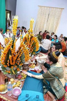 Lao Wedding Laos Wedding, Wedding Attire, Laos Culture, Laos Food, Wedding Stuff, Wedding Ideas, Traditional Weddings, Wedding Decorations, Table Decorations