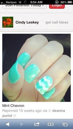 24 Cute Nail Art Designs When summer comes, a storm of passion runs through our body, inspiring original, cute nail designs. Fancy Nails, Love Nails, Pretty Nails, Manicure, Diy Nails, Mint Chevron Nails, Turquoise Chevron, Nails Turquoise, Nail Ideas