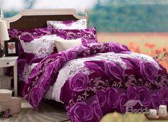 Elegant Purple Rose Print 4-Piece Cotton Duvet Cover Sets