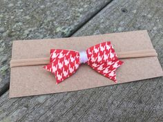 Hair Bow Red Houndstooth Nylon headband or by BieryBabyBoutique