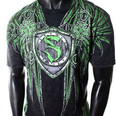 New SINISTER *AFFLICTION ***SUPER BUY MENS CROSS WINGS BLACK/GREEN T-SHIRT XL SZ #SINISTERUFCFIGHTGEAR #GraphicTee
