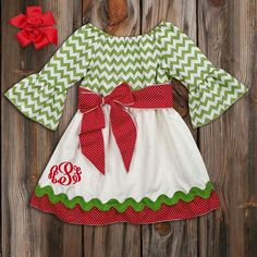 cute Christmas outfit for a little girl! love the monogram in the corner!