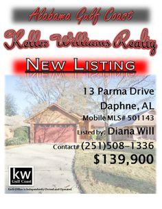 13 Parma Drive, Daphne, AL...MLS# 501143...$139,900...2 Bedroom, 2 Bath...Attractive Patio Home with great floor plan in a sought after Daphne location, close to golf courses, shopping, dining & Interstate 10. Home features a Spacious Living Room with High Ceilings and fireplace, a 20X7 Glass Florida Room & New Bamboo Hardwood Floors and Fresh Interior Paint throughout! Large Deck with Gazebo overlooking a Low Maintenance, Fenced Backyard.Contact Diana Will at 251-508-1336.