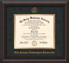 George Washington University - Diploma Frames : W/Seal - Black Suede on Gold Mat - BA/MA.  Beautiful!  Click to see all the styles!