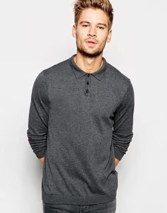 ASOS Knitted Polo Neck Jumper In Cotton