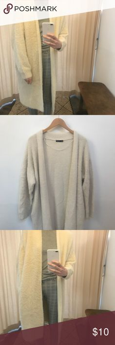 """Long Fluffy Cardigan Worn once, sheds easily... also not really my size, thought I could make it work. Length is 38"""" has pockets-yay! 64% polyamide 36% acrylic. Sized as m/l Bershka Sweaters Cardigans"""