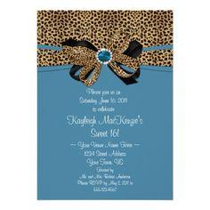 #2 Leopard Print Blue Jewels Diamonds Sweet 16 Cards