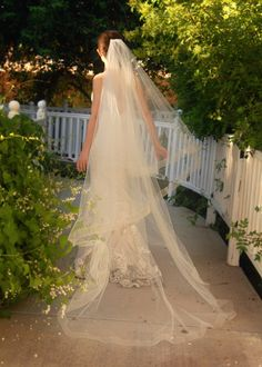 Cathedral Wedding Veil - Drop Veil or Cascade Style with Sheer Organza Ribbon Edge