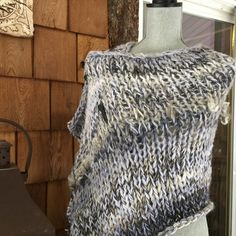 SALE Outlander  Knitted, BFL,mohair handspun and art yarn added to make this beautiful shawl, the grey tones are magnificent