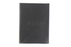 Leather   Raw Edge - Vertical Pocket - A5 - Black K Leather - Blind Debossing