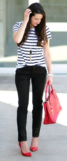 Business casual outfit idea-- Banana Republic laser-cup ankle pants with comfy striped cotton crew neck, red patent pumps, red Ralph Lauren satchel, and black Kendra Scott Rayne necklace | Kick Up Your Heels: Business Casual with Banana Republic by Stephanie Ziajka from Diary of a Debutante