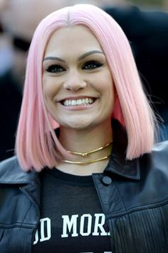 How cute is Jessie J?! Love this lighter pink hair for her -- she usually sports jet-black hair. http://thestir.cafemom.com/beauty_style/188777/12_celebs_with_pink_pastel