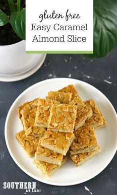 Fancy enough for high tea, but easy enough for anyone to make, this Easy Caramel Almond Slice is simple, delicious and even gluten free! Crunchy almonds and chewy caramel make this slice a delicious dessert to share with friends over coffee, or at a special occasion. (Simple stovetop caramel and oven baked base) Looks Yummy, High Tea, A Food, Delicious Desserts, Food Processor Recipes, Healthy Snacks, Caramel, Gluten Free, Oven Baked