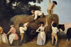 """""""Haymakers,"""" George Stubbs (detail, The details are excellent--black bonnets, mitts, and the fit of men's shirts and breeches. (I'm pretty sure those are green stays peeking out from under the woman in blue's bodice). 18th Century Clothing, 18th Century Fashion, Historical Clothing, Women's Clothing, Traditional Art, Painting & Drawing, Photo Art, Sketches, History"""