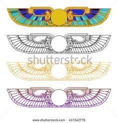 stock-vector-hand-drawn-vintage-tattoo-art-egypt-sun-disk-wings-ra-cobra-horus-vector-illustration-417342778.jpg (450×470)