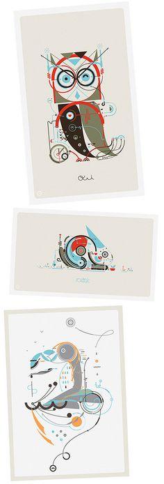<3 Leandro Castelao geometric illustrations