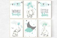 Nursery decor elephant, mint nursery decor, twinkle twinkle little star, gender neutral nursery, animal balloons, nursery decor mint green, animal prints balloons Choose your size from the drop down box above the add to cart button. If you would like a different size please send me a